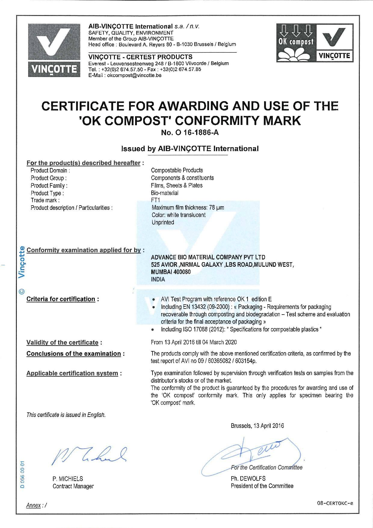 Certificate Issued by AIB-VINCOTTE International
